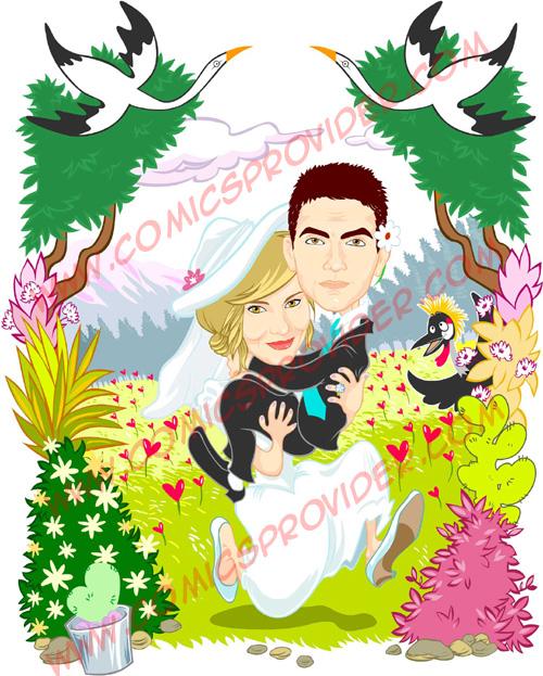 Caricature sposi per partecipazioni di matrimonio for Disegno sposi